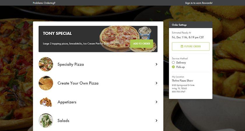 Screenshot of Thrive POS online ordering screens