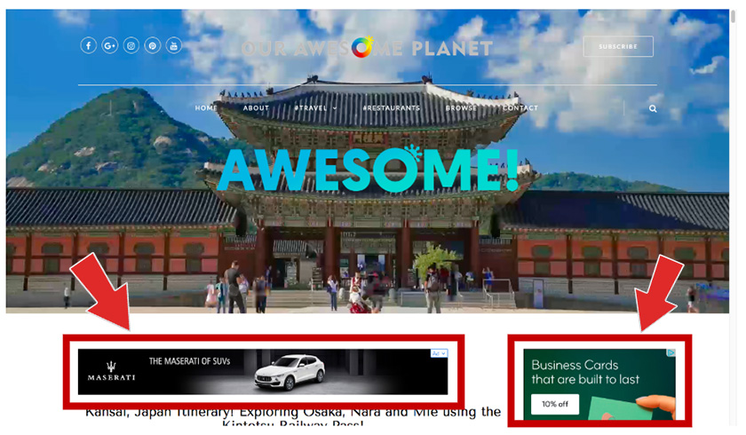 Web Banner Placements examples