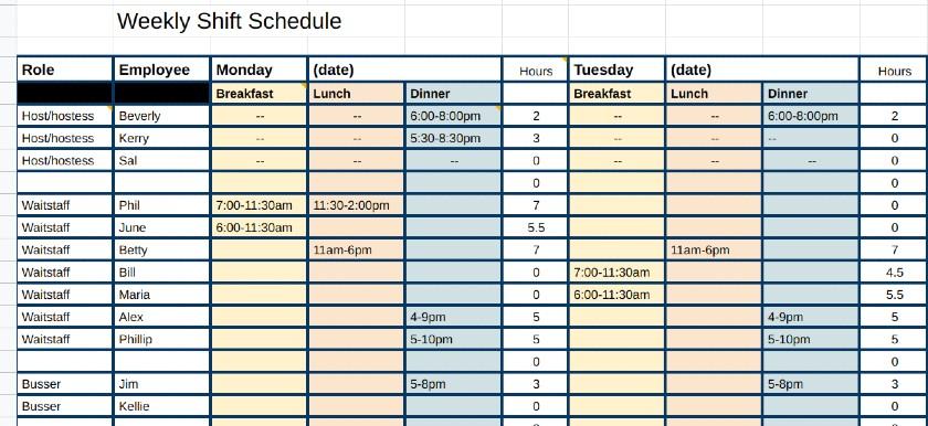 Weekly Shift Schedule in Excel