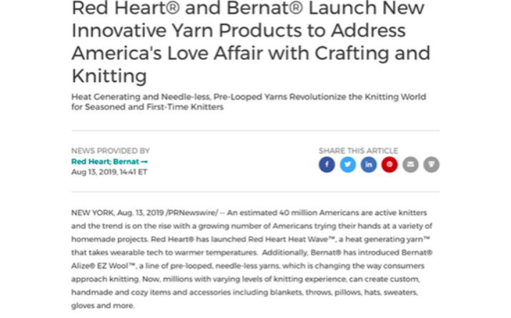 Yarnspirations product launch Press Release