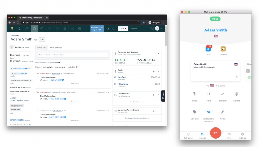 Zendesk Sell telephone features