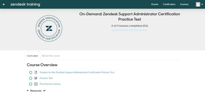 Zendesk Support Administrator certification practice test