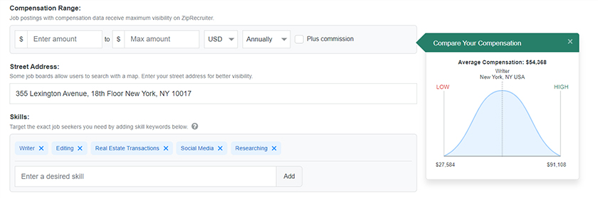 ZipRecruiter Compare Your Compensation app