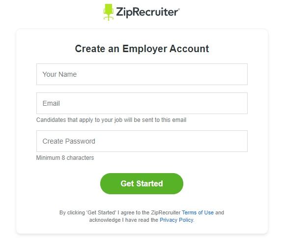 ZipRecruiter Create an Employer Account Form
