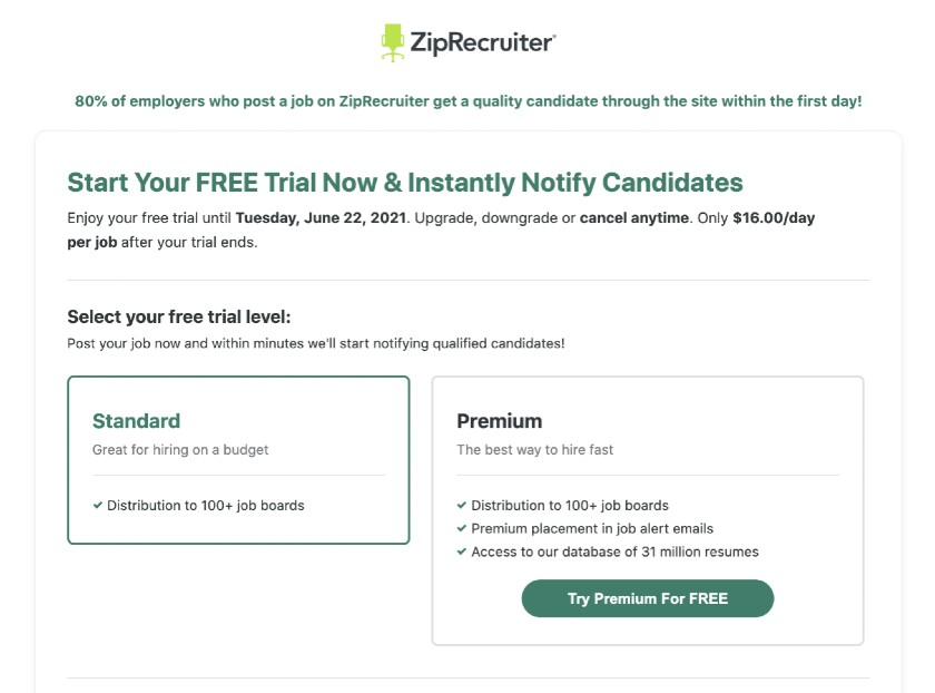 ZipRecruiter free trial or purchase a paid plan