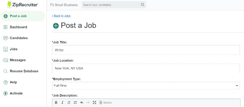 ZipRecruiter job post location details