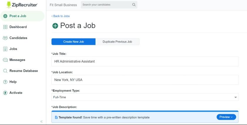ZipRecruiter's job post pre-written template