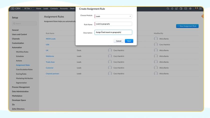 Zoho CRM Automation setup panel