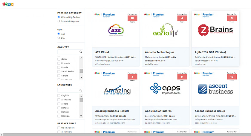 Zoho_CRM Consulting Partners Directory