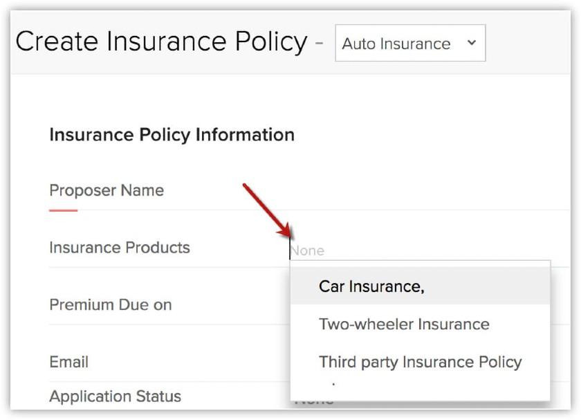 Zoho CRM Create Insurance Policy