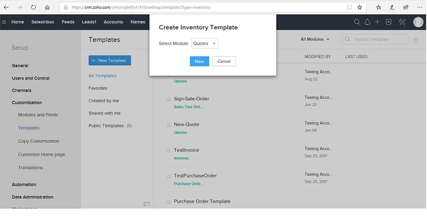Zoho CRM Inventory template