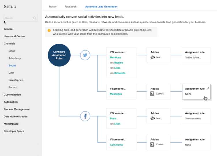 Zoho CRM Social Media Automation Rules Configuration