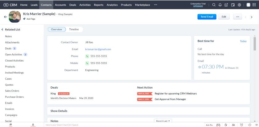 Zoho CRM contact management