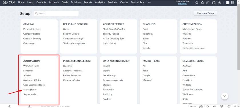 Zoho CRM scoring rules option under Automation panel