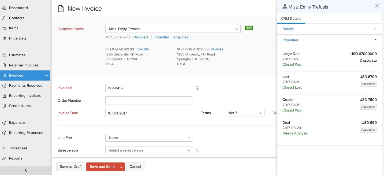 Screenshot of Zoho CRM with Zoho Invoice Integration