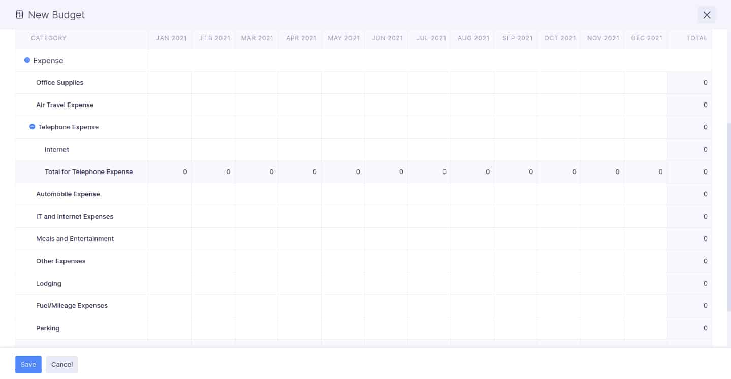 Screenshot of Zoho Expenses Budget Screen