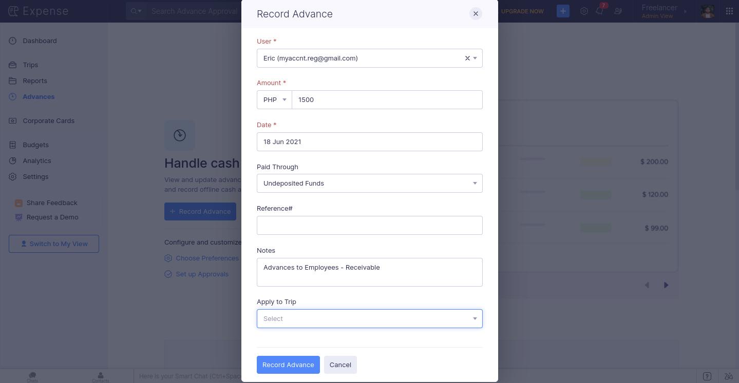Screenshot of Zoho Expenses Recording Advances