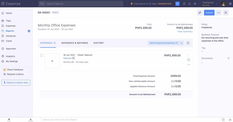 Screenshot of Zoho Expenses Report Summary