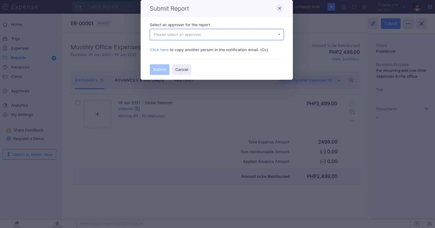 Screenshot of Zoho Expenses submit report