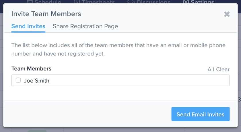 Screenshot of ZoomShift Invite Team Members page