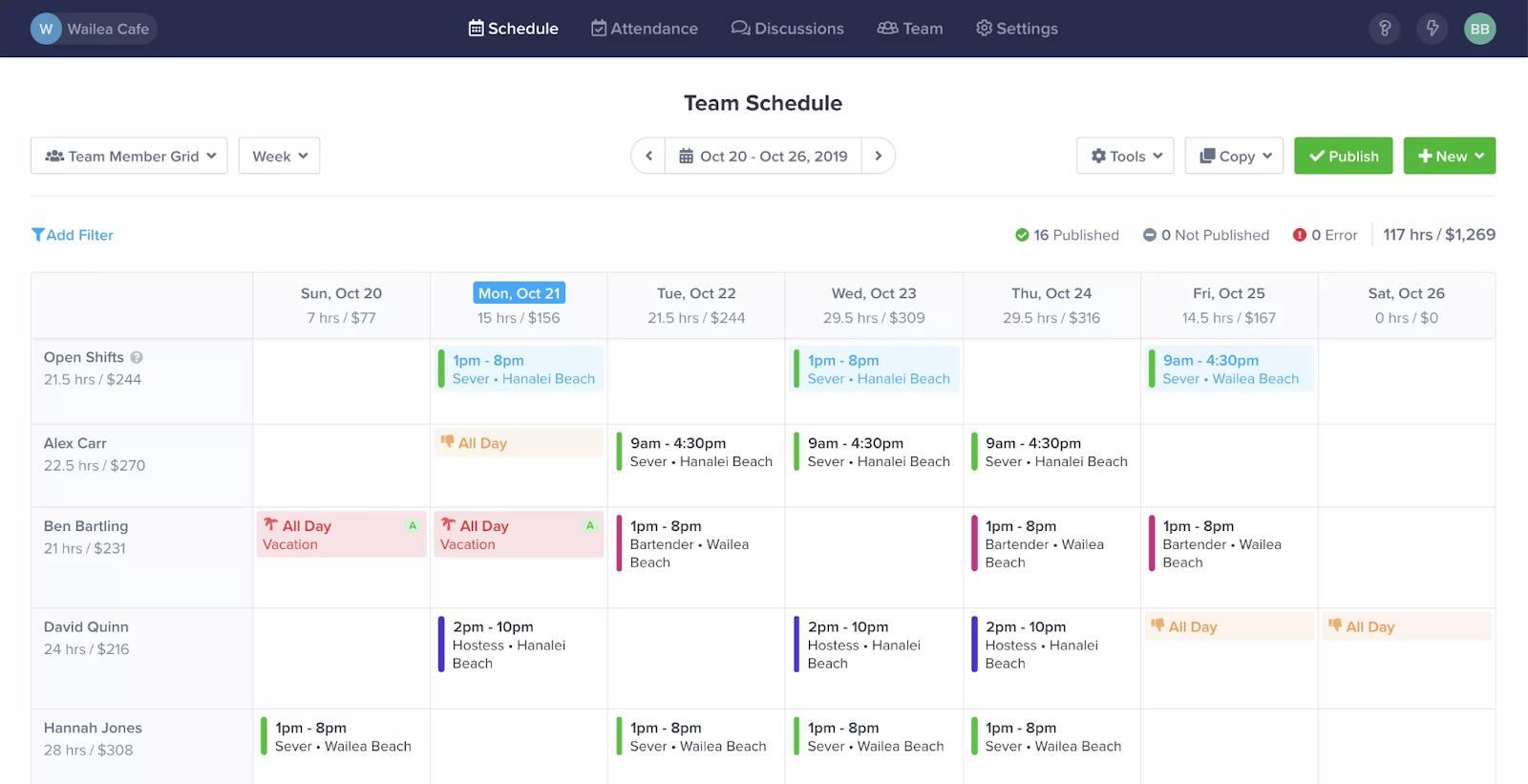 Screenshot of ZoomShift TeamSchedule Dashboard