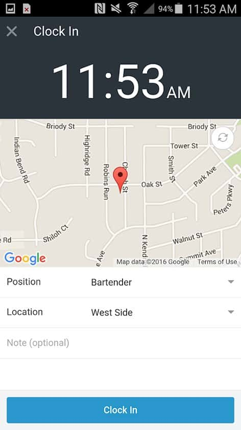 Screenshot of ZoomShift clock in with location tracker