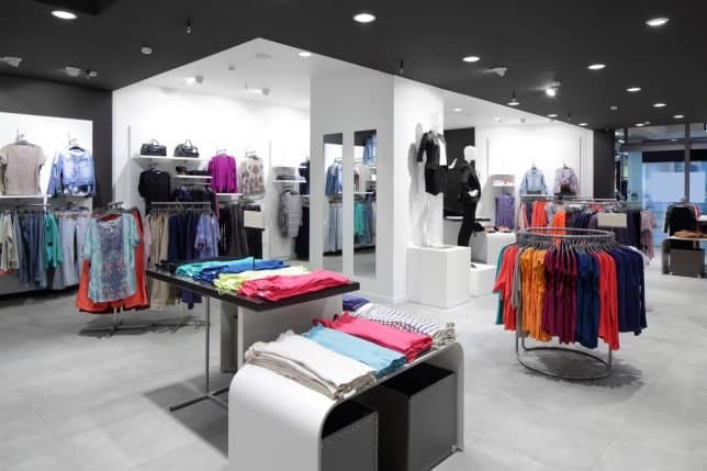 Screenshot of clothing store