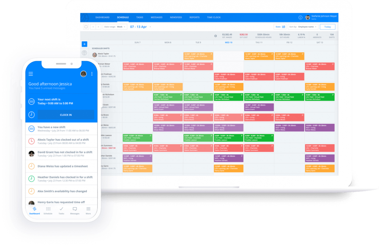 Screenshot of scheduling tools for mobile and web