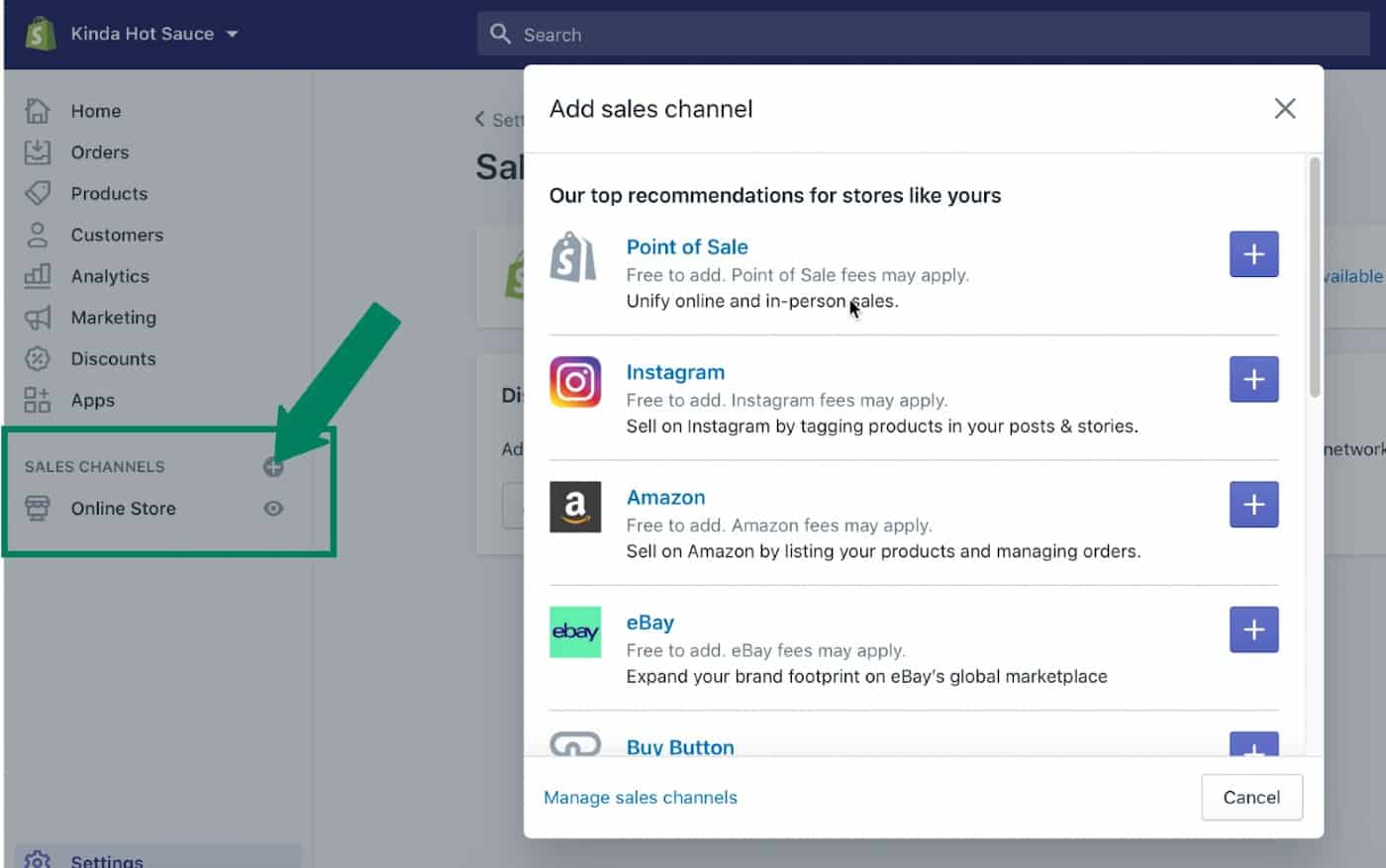 Screenshot of Add Sales Channels on Shopify