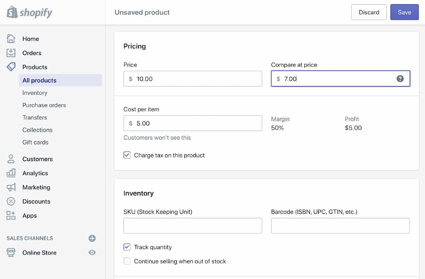 Screenshot of Adding Your Wholesale Cost Per Item