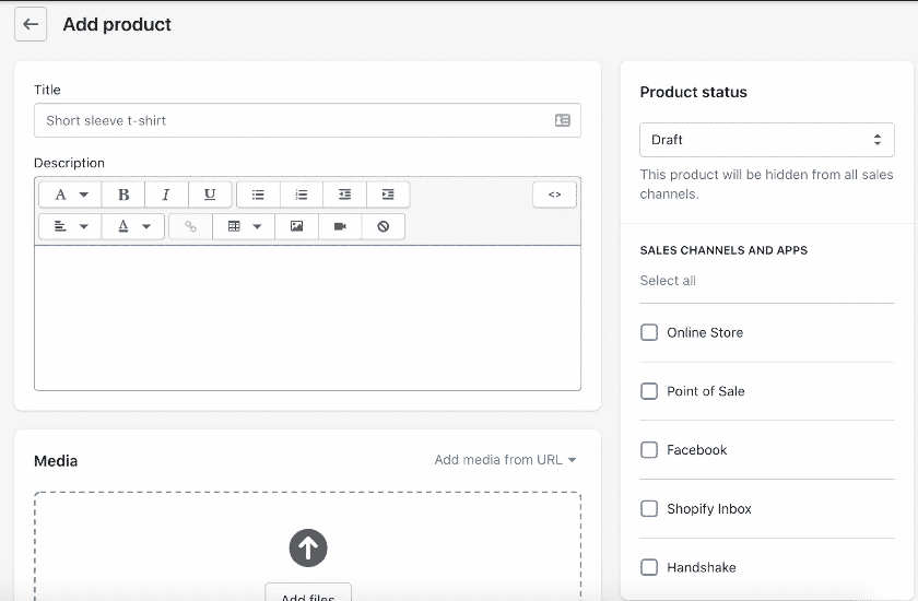 Screenshot of Adding or editing products in Shopify dashboard