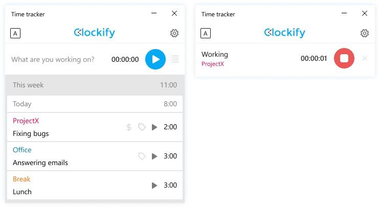 Screenshot of Clockify Time Tracking App