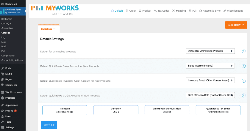 Screenshot of Configure Settings for QuickBooks