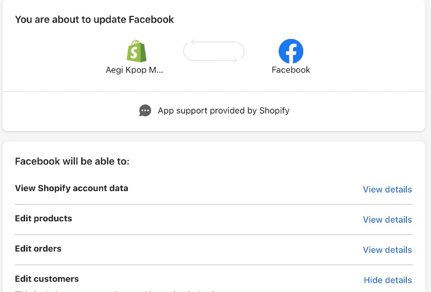 Screenshot of Connecting Shopify Store To Facebook Account