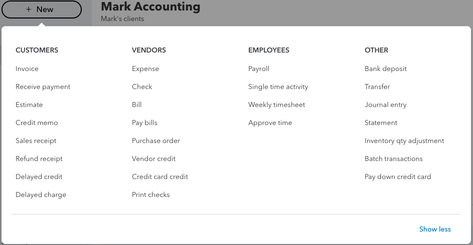 Creating New Transactions in Quickbooks Online