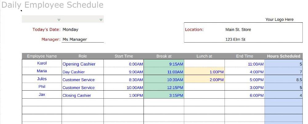 Screenshot of Daily Schedule Template