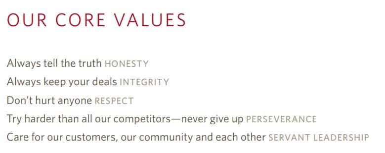 Screenshot of Delta Core Values