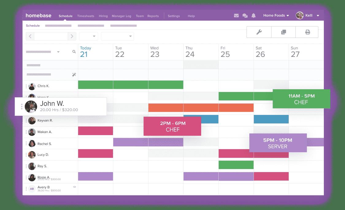 Screenshot of Homebase Predictive Scheduler