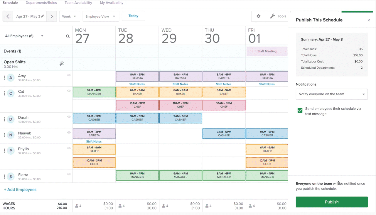 Screenshot of Homebase Scheduling on Desktop