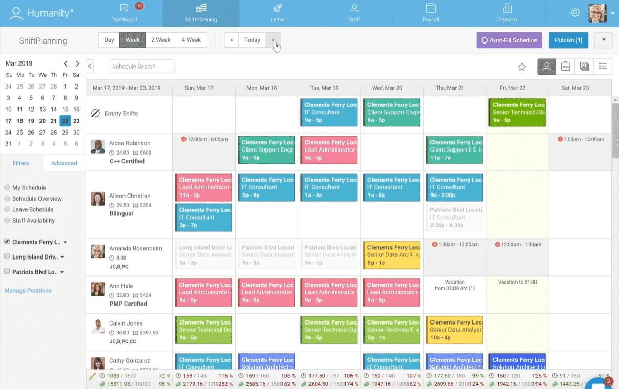 Screenshot of Humanity Scheduling on Desktop