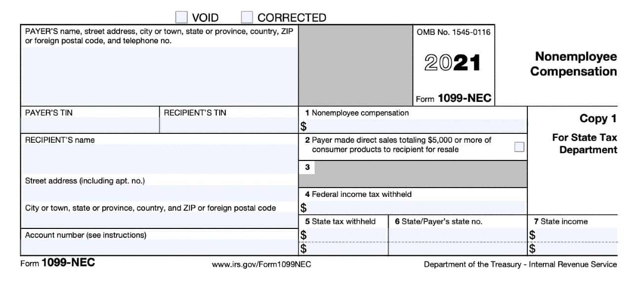 Screenshot of IRS Form 1099-NEC 2021