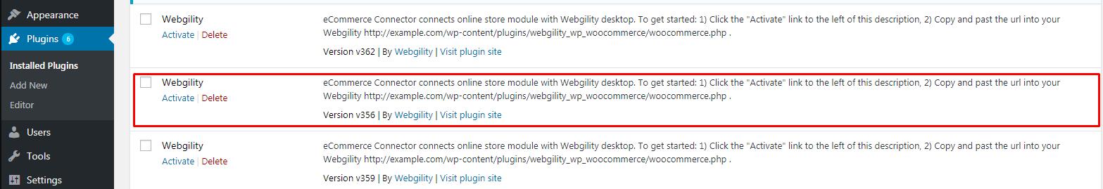 Screenshot of Installing Activate Webgility on WordPress