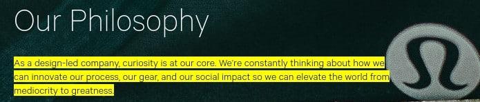 Screenshot of Lululemon Core Values