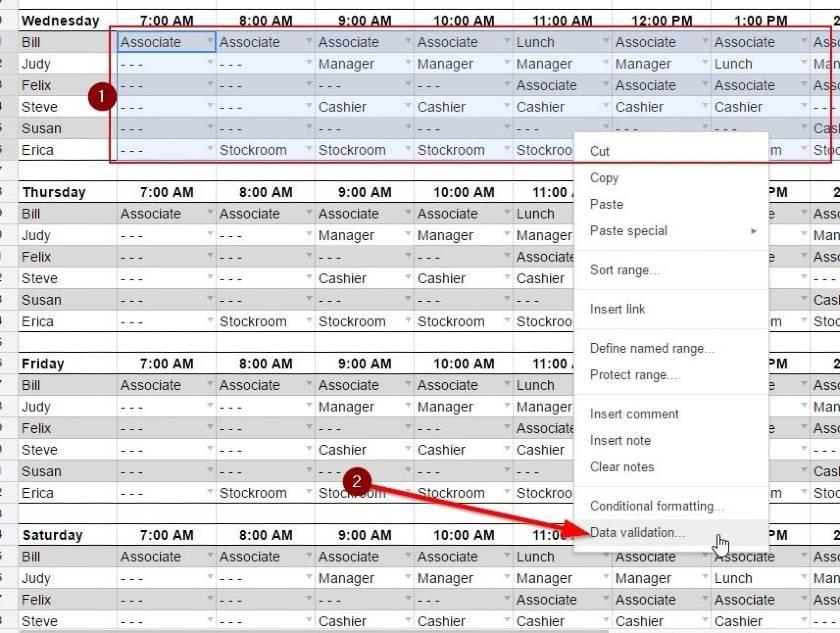 Screenshot of Modifying Schedule Template