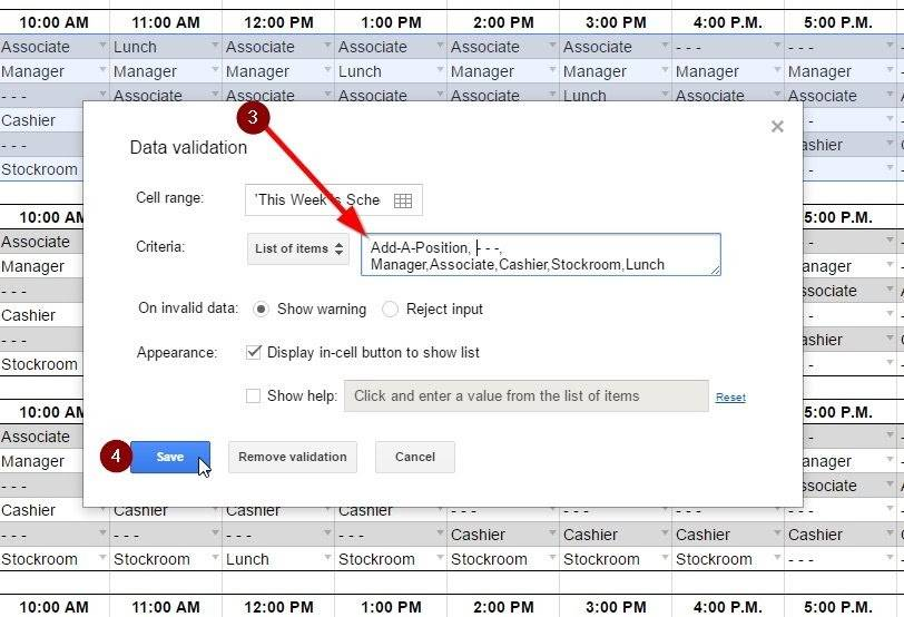 Screenshot of Modifying Schedule Template Data Validation