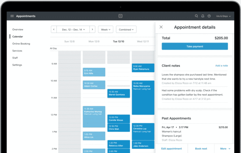 Screenshot of Multiple Appointment Calendar on Square Appointments