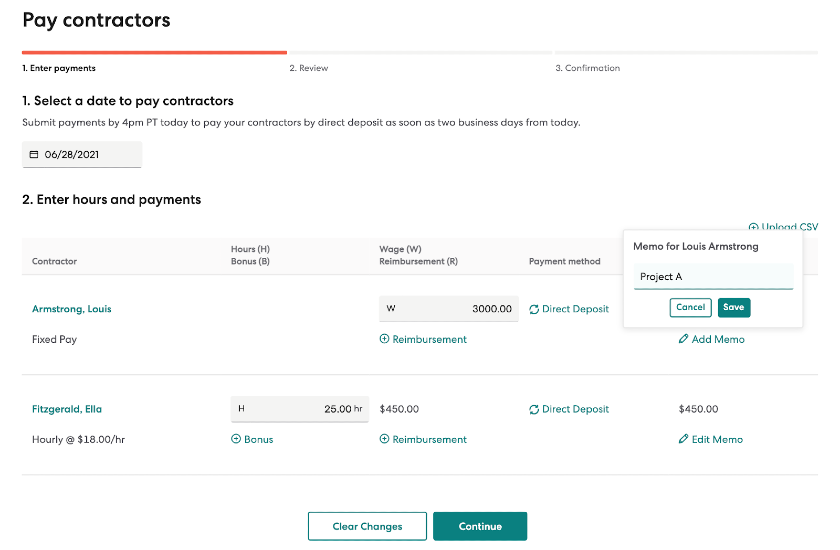 Screenshot of Pay Contractors on Gusto