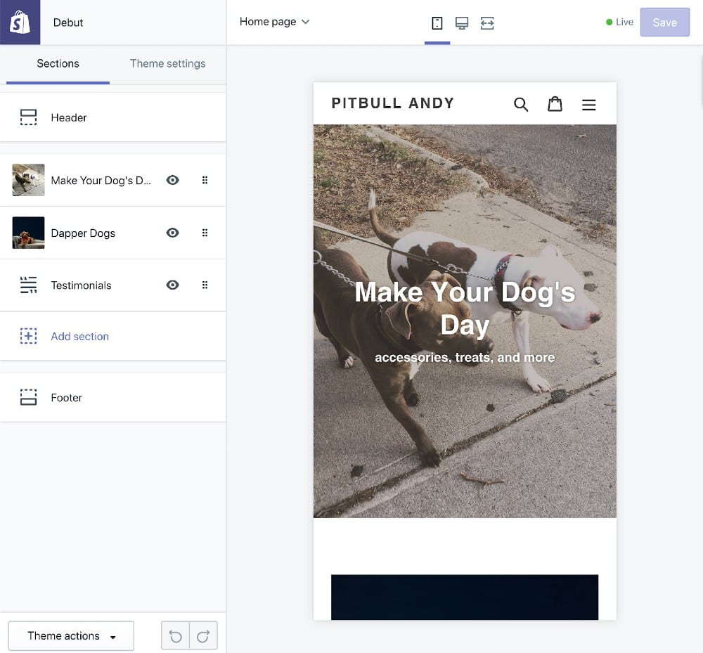Screenshot of Previewing Theme in mobile and Desktop Layouts