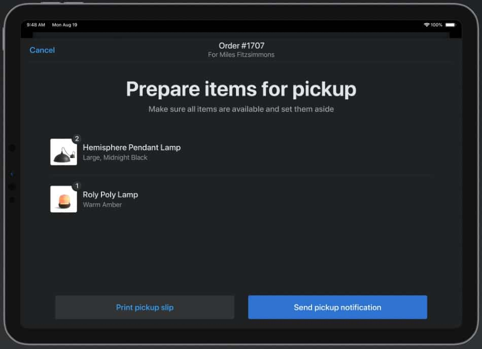 Screenshot of Processing Orders on Shopify POS