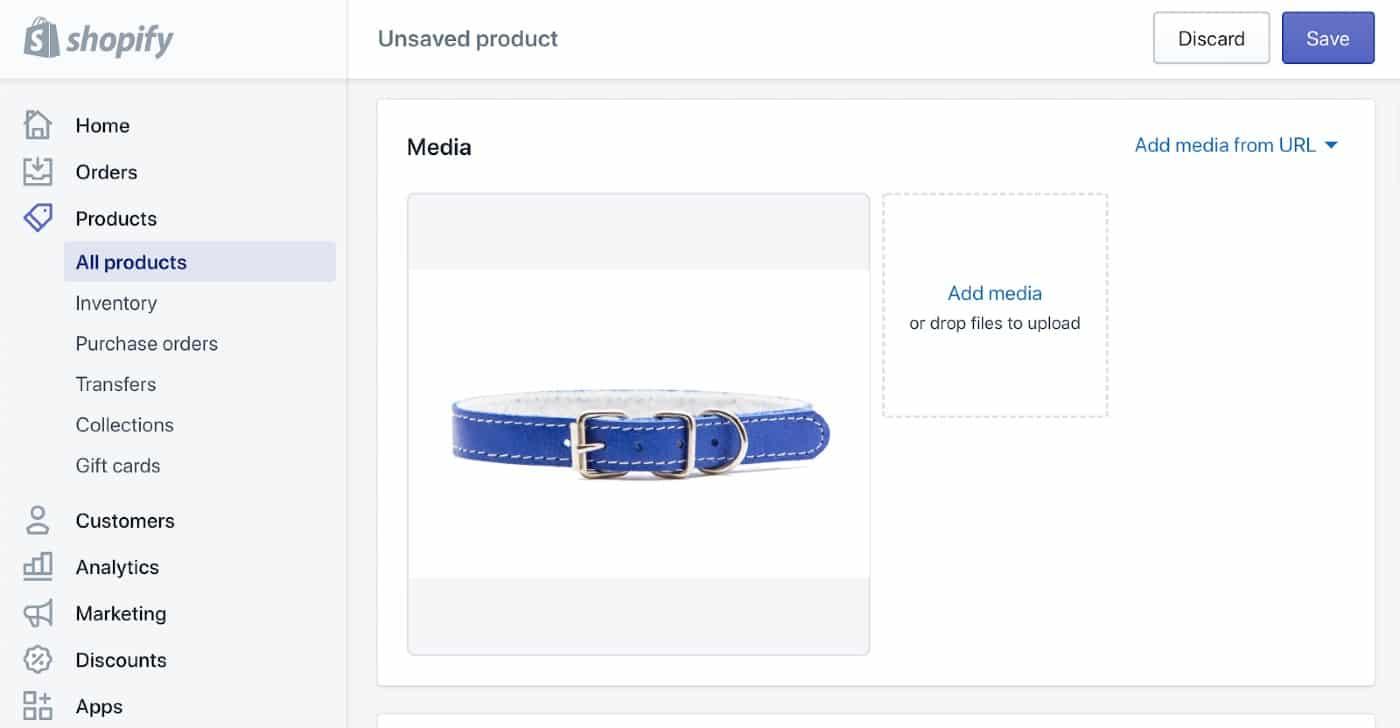 Screenshot of Product Presentation Photo on Shopify